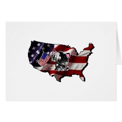 America: USA Silhouette and Kitty Card