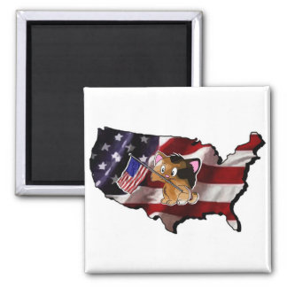 America: USA Silhouette and Kitty Square Magnet