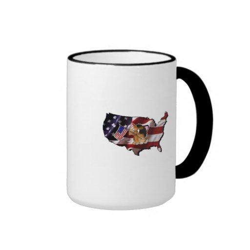 America: USA Silhouette and Kitty Mug