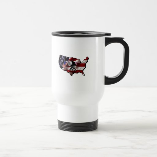 America: USA Silhouette and Kitty Coffee Mug