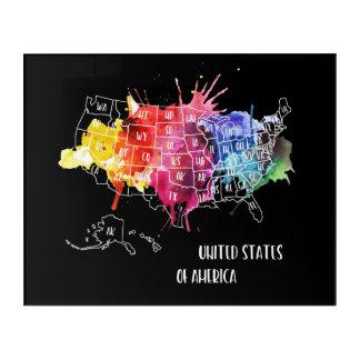 America, USA States Map Rainbow Watercolor Art