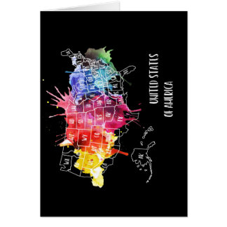 America, USA States Map Rainbow Watercolor Art Card