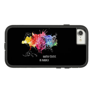 America, USA States Map Rainbow Watercolor Art Case-Mate Tough Extreme iPhone 8/7 Case