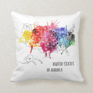 America, USA States Map Rainbow Watercolor Art Cushion