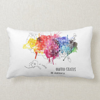 America, USA States Map Rainbow Watercolor Art Lumbar Cushion