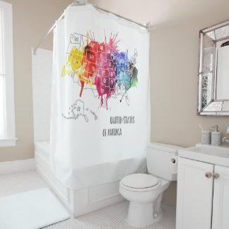 America, USA States Map Rainbow Watercolor Art Shower Curtain