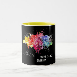 America, USA States Map Rainbow Watercolor Art Two-Tone Coffee Mug