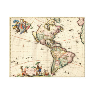 America vintage Map 1670 wrapped canvas