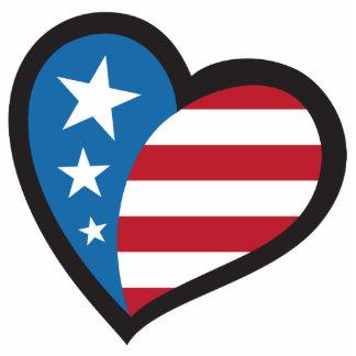 Americam patriotic heart photo sculpture key ring