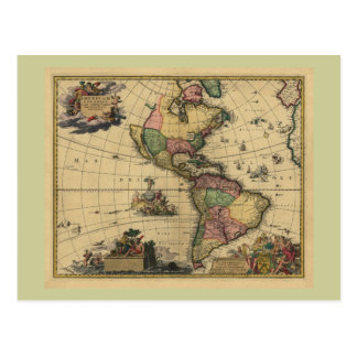 Americam utramque - North & South America Map Postcard