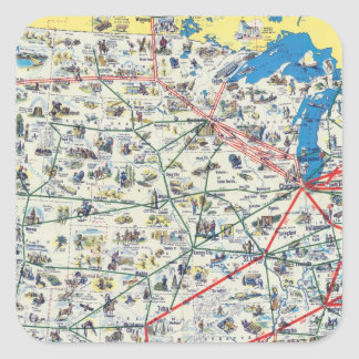 American Airlines system map Square Sticker