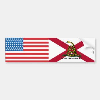 American & Alabama Gadsden Flag Bumper Sticker