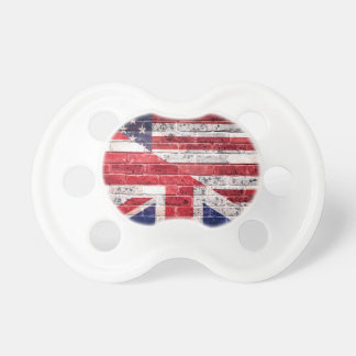 American and British flag. Baby Pacifiers