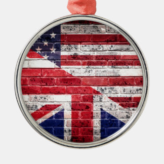 American and British flag. Christmas Ornament