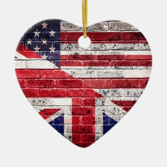 American and British flag. Christmas Ornament