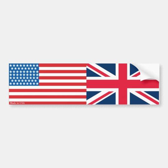 American and British Flags Bumper Sticker