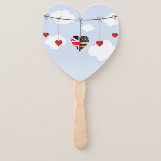American and British flags, Heart Royal Wedding Hand Fan