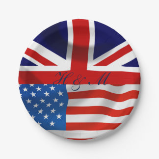 American and British flags,  Royal Wedding Paper Plate
