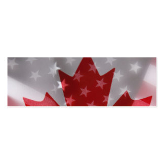 American and Canadian flags bookmark Pack Of Skinny Business Cards