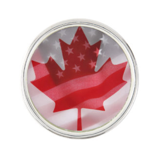 American and Canadian flags Lapel Pin