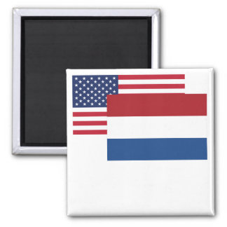 American And Dutch Flag Square Magnet