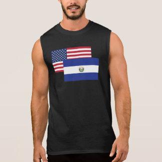 American And El Salvadorian Flag Sleeveless Shirts