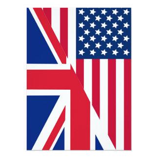 American and Union Jack Flag 14 Cm X 19 Cm Invitation Card