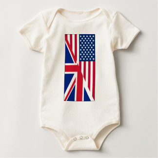 American and Union Jack Flag Baby Bodysuit