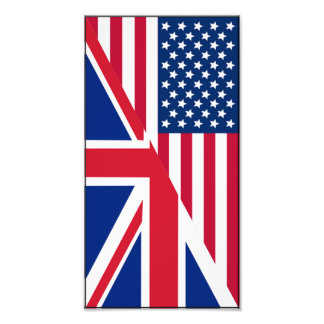 American and Union Jack Flag Photo Print