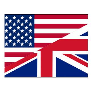American and Union Jack Flag Postcard