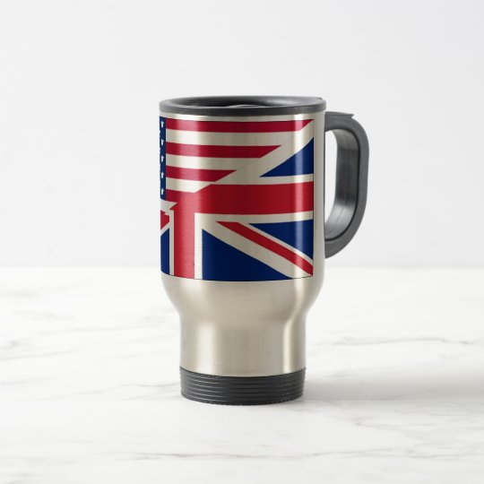 American and Union Jack Flag Travel Mug