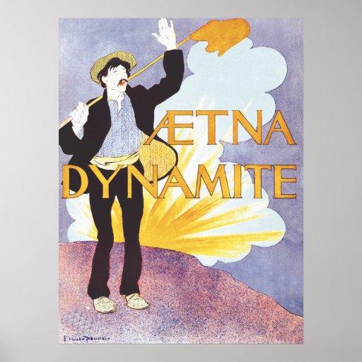 American Art Nouveau vintage dynamite ad Poster