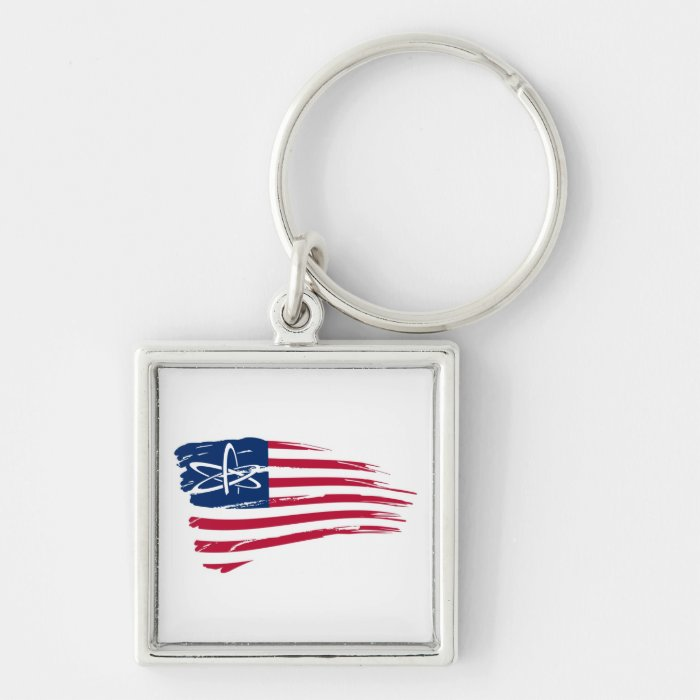 American Atheist Silver-Colored Square Key Ring