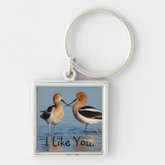 American Avocet Pair Silver-Colored Square Key Ring