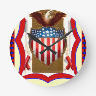 American badge and bald eagle round clock