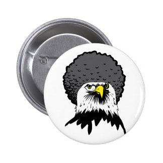 American Bald Eagle Afro Funny Button Badge Pin