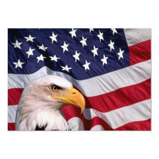 American Bald Eagle and American Flag 13 Cm X 18 Cm Invitation Card