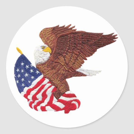 American Bald Eagle and American Flag Classic Round