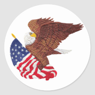 American Bald Eagle and American Flag Round Sticker