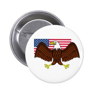 American Bald Eagle and Flag 6 Cm Round Badge