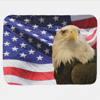 American Bald Eagle and Flag Baby Blanket