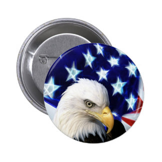 American Bald Eagle and Flag Button / Pin