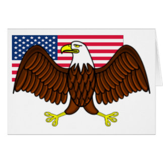 American Bald Eagle and Flag Card