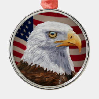 American Bald Eagle and Flag Christmas Ornament