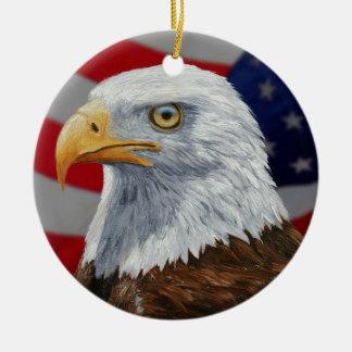 American Bald Eagle and Flag Christmas Ornament