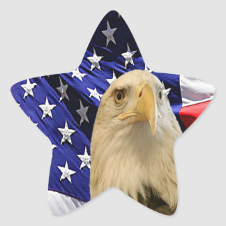 American Bald Eagle and Flag Star Sticker