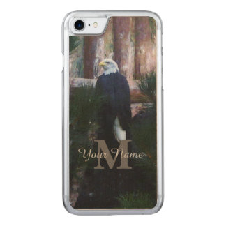 American bald eagle and monogram carved iPhone 8/7 case
