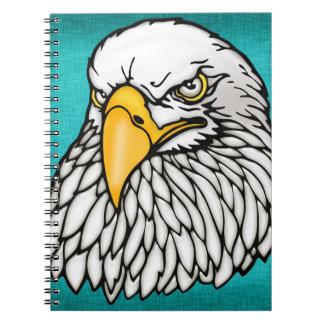 American bald eagle aqua blue note book