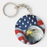 american bald eagle basic round button key ring