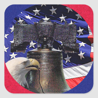 American Bald Eagle, Bell and Flag Square Sticker